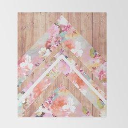 Vintage floral watercolor rustic brown wood geometric triangles Throw Blanket