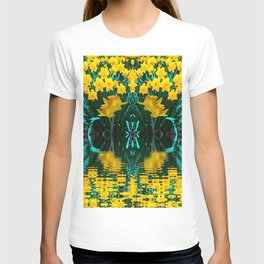 YELLOW DAFFODILS TURQUOISE PATTERNED GARDEN T-shirt
