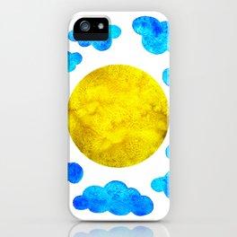 Cute blue cartoon clouds and sun. iPhone Case