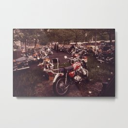 Parked Motorcycles Vintage Photograph Metal Print