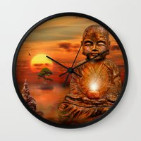 buddha Wall Clocks featuring Buddha by teddynash