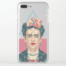 Pastel Frida - Geometric Portrait with Triangles Clear iPhone Case