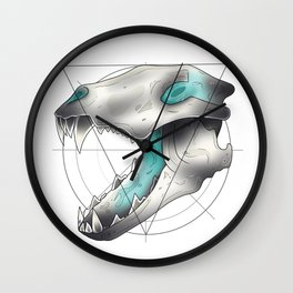 Blue Flame Wolf Skull Wall Clock