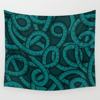 tape Wall Tapestries featuring Measuring Tape Pattern by evannave