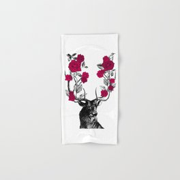 The Stag and Roses | Red Hand & Bath Towel