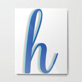 Cursive Letter H in Cobalt Blue Metal Print