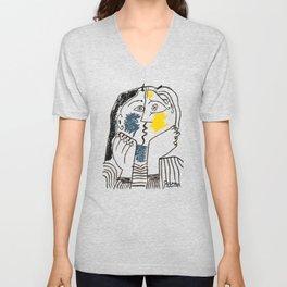 Pablo Picasso Kiss 1979 Artwork Reproduction For TShirts, Framed Prints Unisex V-Neck