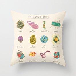 Twelve deadly Diseases Throw Pillow