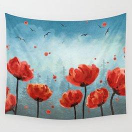 Poppy flowers - Misty Forest Wall Tapestry