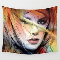 britney Wall Tapestries featuring  britney spears  by mark ashkenazi
