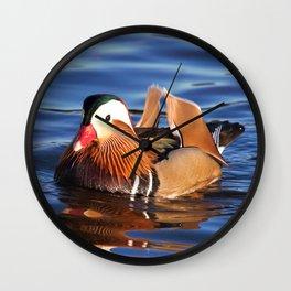 Beautiful Mandarin Duck at the Lake Wall Clock