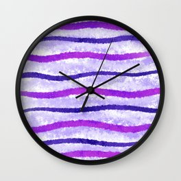 Purple and Pink Wavy Lines Abstract Painting Wall Clock