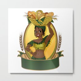 Young pretty african selling bread Metal Print