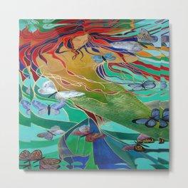 Mermaid and Butterflies Metal Print