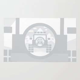 Light Grey digital drawing of a 4x4 adventure vehicle in the mountains Rug