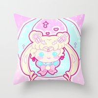 sailormoon Throw Pillows featuring Marshmallow Sailormoon by Candy Castle