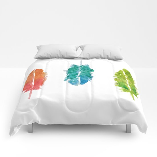 Vibrant color feathers Comforters