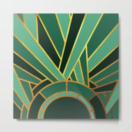 Art Deco Sunset In Emerald Metal Print