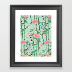 Bamboo, Birds and Blossom - soft blue green Framed Art Print
