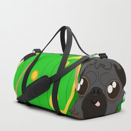 Pug Buddies. Puggits. Pugs on an Adventure Duffle Bag