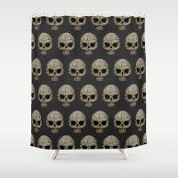 polkadot Shower Curtains featuring Odd Skull Polkadot by Luke Clark