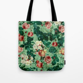 Floral and Marble Texture Tote Bag