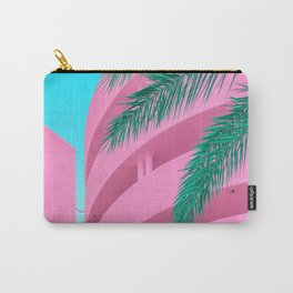 Pink Parking Garage with Green Palm Tree Carry-All Pouch