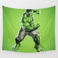 hulk Wall Tapestries featuring HULK by Hands in the Sky