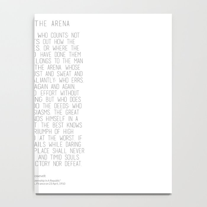 The Man In The Arena by Theodore Roosevelt 2 #minimalism Notebook