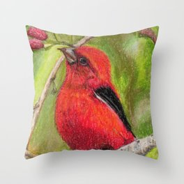 Raspberries Red Bird Nature Art Scarlet Tanager by Laurie Leigh Throw Pillow