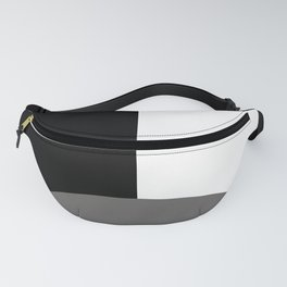 Basic Bold Pantone Pewter and Black and White Rectangles Fanny Pack