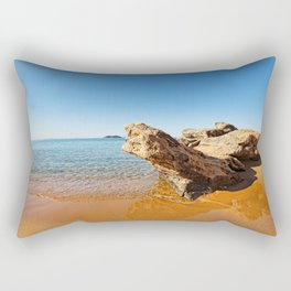 Strange rock formations at Agios Petros beach in Andros, Greece Rectangular Pillow