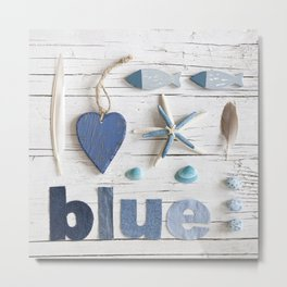 Blue collected items maritime collage Metal Print
