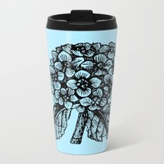 Blue Hydrangea Metal Travel Mug