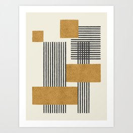 Stripes and Square Composition - Abstract Art Print