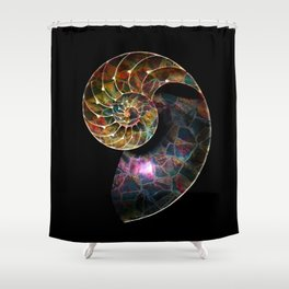 Fossilized Nautilus Shell Shower Curtain