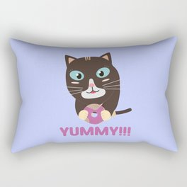 Cat with yummy Donut Rectangular Pillow