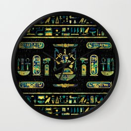 Egyptian  Gold and Blue Marble Ornament Wall Clock