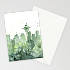 Seattle Watercolor Painting Stationery Cards