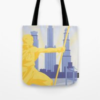 travel poster Tote Bags featuring Republic City Travel Poster by HenryConradTaylor