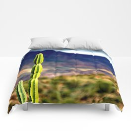 Bright Cactus Cloudy Mountain Morning Comforters