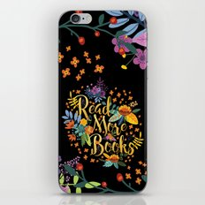 Read More Books - Black Floral Gold iPhone Skin