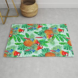 Pineapples and Parrots Tropical Summer Pattern Rug