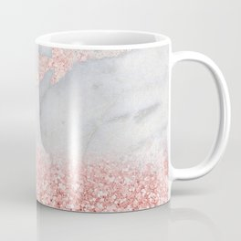 Sparkly Pink Rose Gold Glitter Ombre Bohemian Marble Coffee Mug