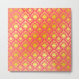 Pink and Gold Damask Metal Print