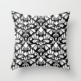 Flourish Damask Big Ptn White on Black Throw Pillow