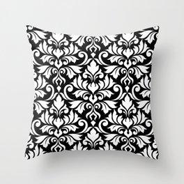 Flourish Damask Big Ptn White on Black Throw Pillow