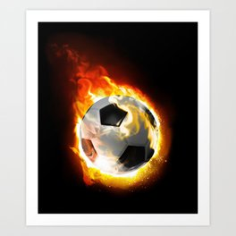 Soccer Fire Ball Art Print