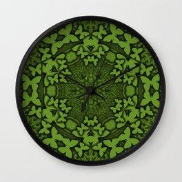 Butterfly kaleidoscope in green Wall Clock