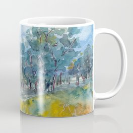 Watercolor landscape with trees, fields and mountains Coffee Mug
